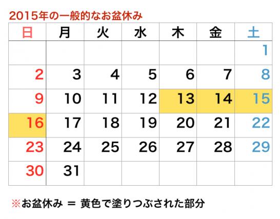 2015 一般的なお盆休みの期間はいつからいつまで?