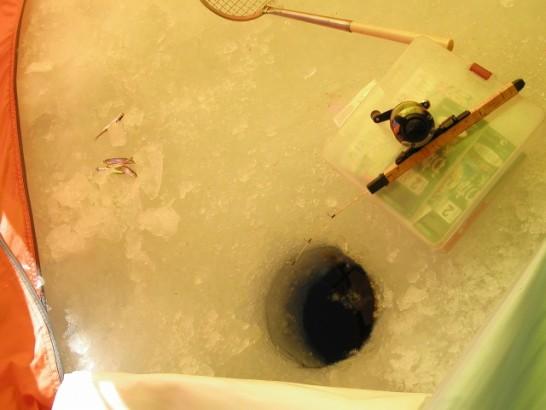 氷上ワカサギ釣り 穴