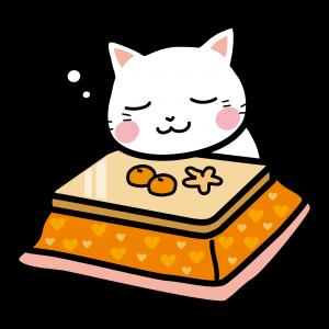 猫とコタツとみかんのイラスト